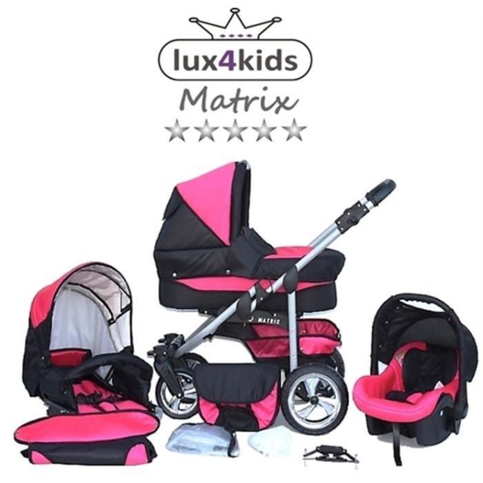 Matrix 2 Poussette Combinée 3en1 Set été Roues pivotantes Nacelle Siège Auto Poussette Canne 31 noir & rose