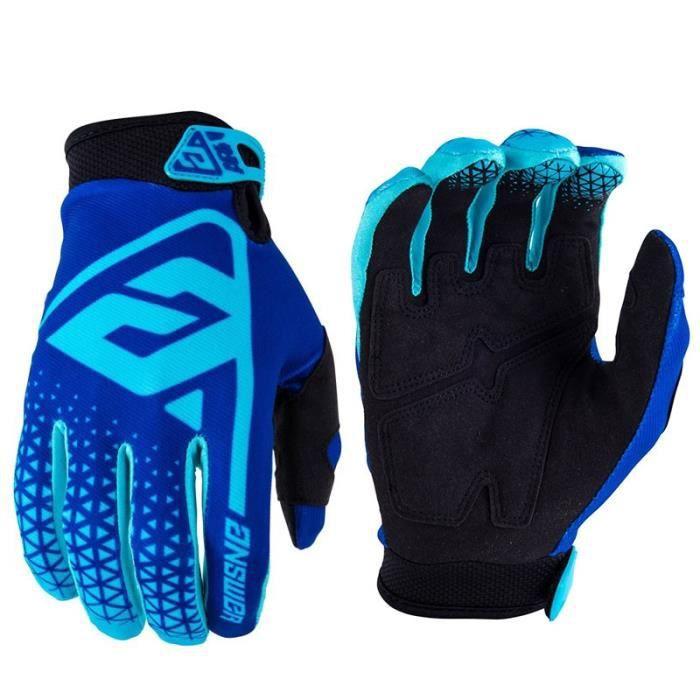 Gants vélo,2019 été en plein air cyclisme gants hommes Long doigt moto gants pour vélo VTT gant vtt lettre fluo gants - Type Bleu