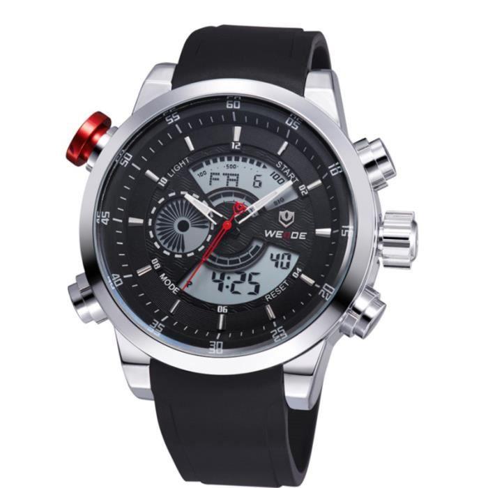 WEIDE 3401 montre homme à quartz avec double bande électronique (blanc) MONTRE BRACELET