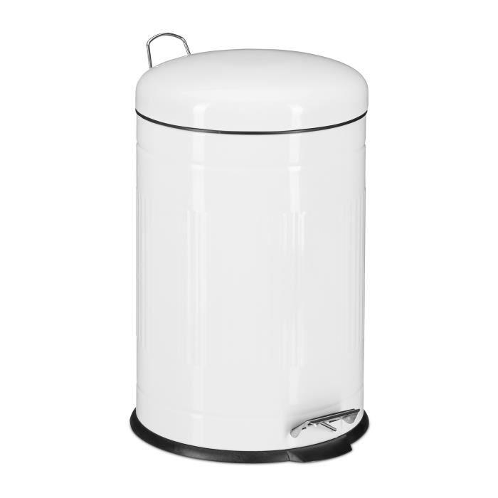 Relaxdays Poubelle à pédale 20 L inox seau intérieur anse couvercle salle de bain cuisine déchets - 4052025935917