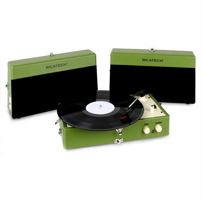Ricatech RT80 Tourne-disque Vintage vert AUX