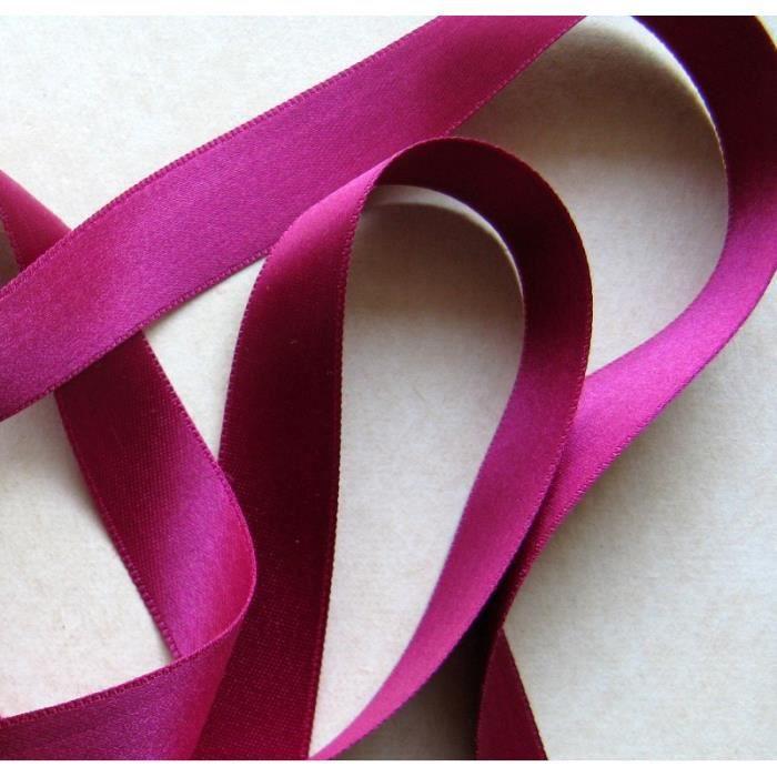 Ruban satin double face Violet Prune 25 mm x 25 m