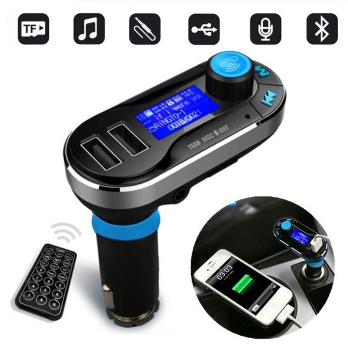 Transmetteur FM Bluetooth sans fil USB voiture audio maison musique adaptateur radio chargeur MP3 mains libres iPhone allume cigares