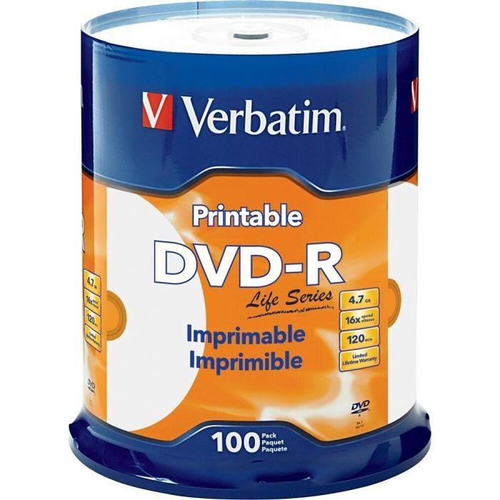 100 DVD-R VERBATIM IMPRIMABLE
