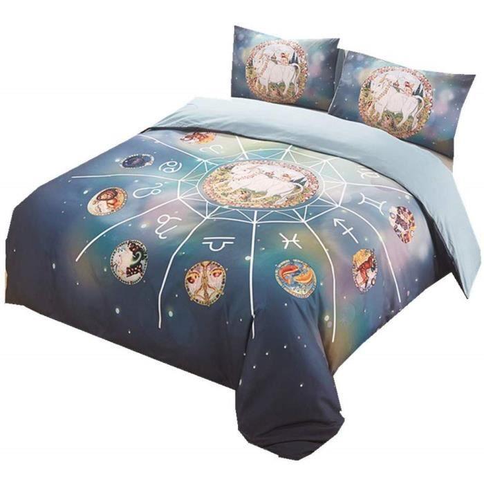 Mystère Galaxie Étoile Parures de Lit pour l'automne Hiver, Bleu  sse de Couette avec Fermeture éclair (Constellation 3, 200x200cm)