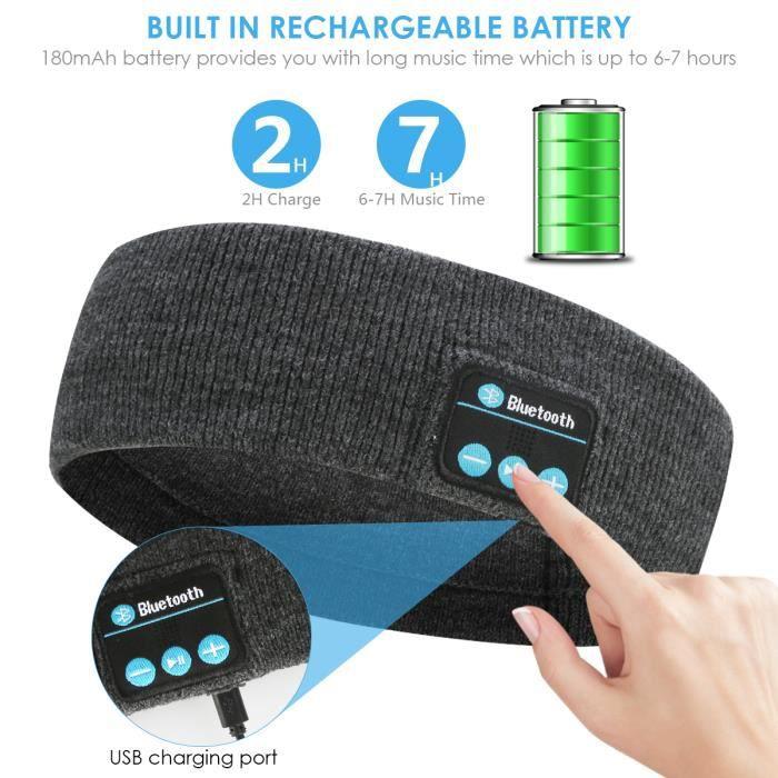 Bandeau sport Bluetooth (gris foncé)