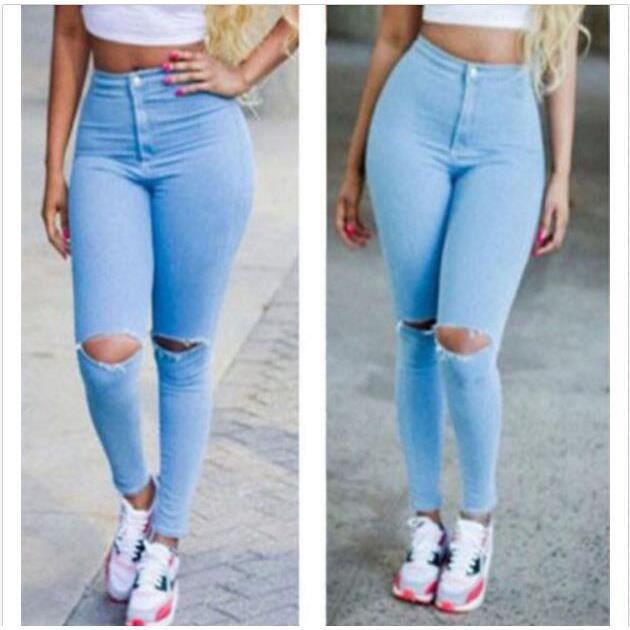 Sexy Pantalon Femmes Denim Skinny taille