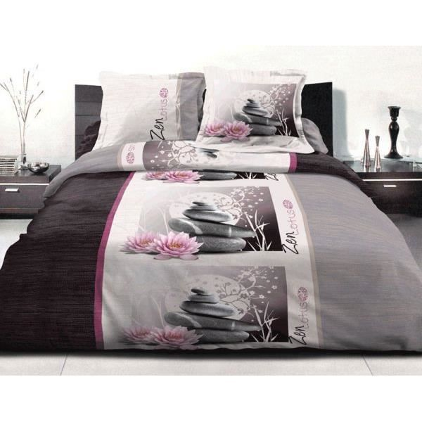 housse de couette 220x240 cm microfibre zen lotus 2 taies d oreiller 63x63 cm 100 polyester. Black Bedroom Furniture Sets. Home Design Ideas