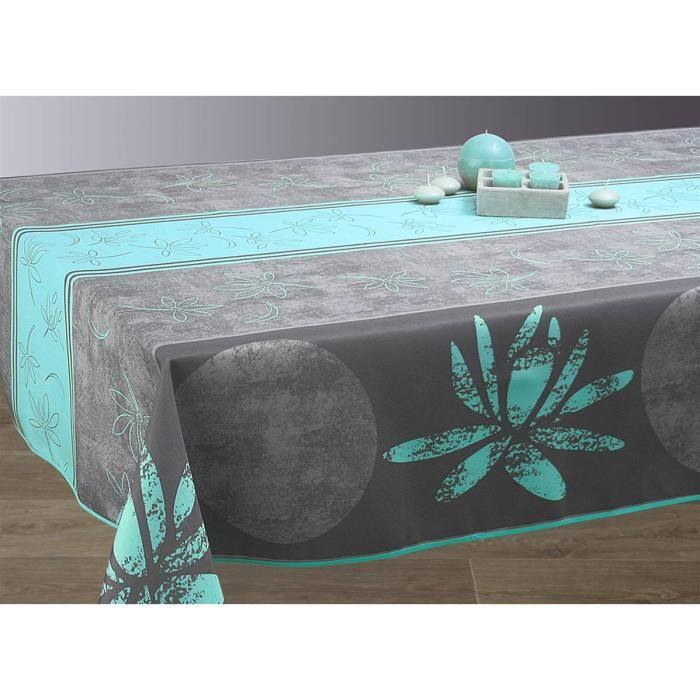 nappe anti taches rectangulaire 150x350 cm lotus bleu achat vente nappe de table cdiscount. Black Bedroom Furniture Sets. Home Design Ideas