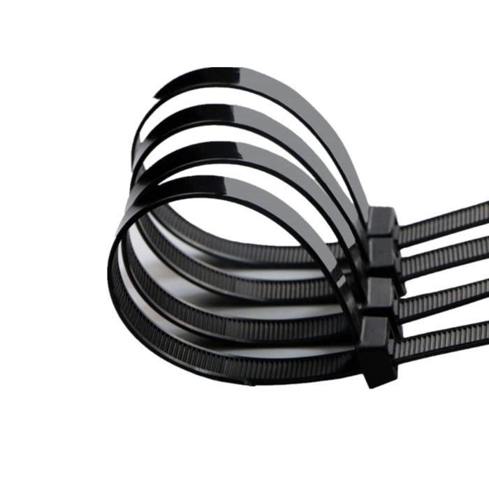 Noir Lot de 100 Pi/èces Serre C/âbles Rilsan Nylon Colliers Serre-Cable 300mm Attache C/âble intervisio Collier de Serrage 300 mm x 7,6 mm