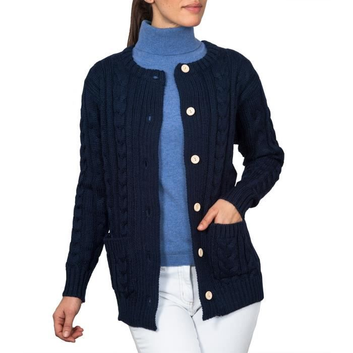 wool overs gilet irlandais femme bleu achat vente gilet cardigan cdiscount. Black Bedroom Furniture Sets. Home Design Ideas
