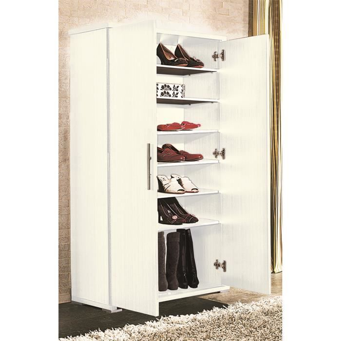 Armoire chaussures avec 6 tag re blanc achat vente meuble chaussures - Armoire avec etagere ...