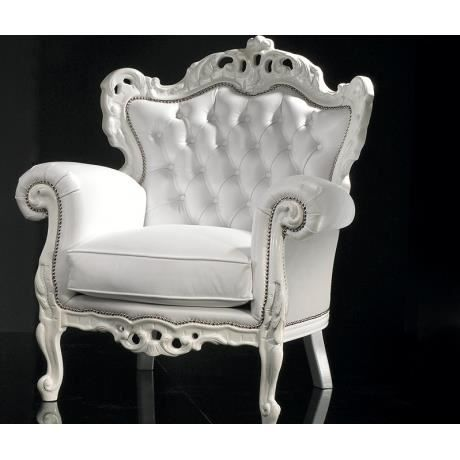 nightcall fauteuil baroque en simili cuir blanc achat vente fauteuil blanc soldes. Black Bedroom Furniture Sets. Home Design Ideas