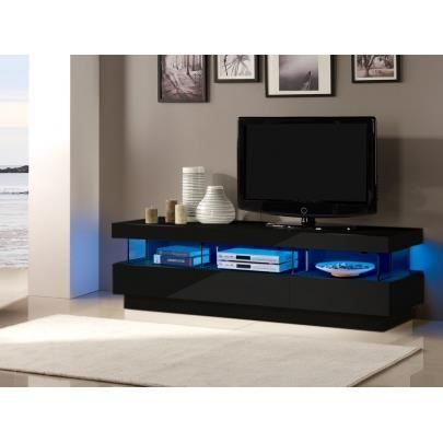 meuble tv fabio mdf laqu noir leds 3 tir achat vente meuble tv meuble tv fabio. Black Bedroom Furniture Sets. Home Design Ideas