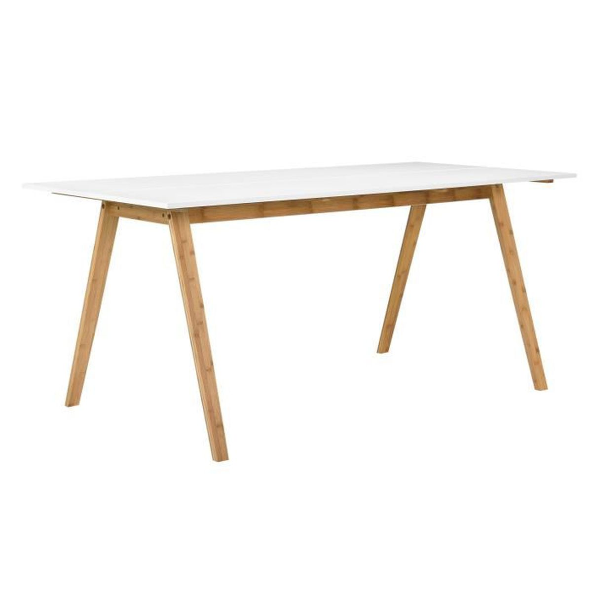 Table de bambou blanc laqu 180x80cm salle for Model de table a manger en bois