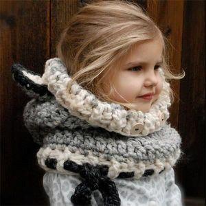 BONNET - CAGOULE QX Cagoule bonnet écharpe gris avec oreilles renar