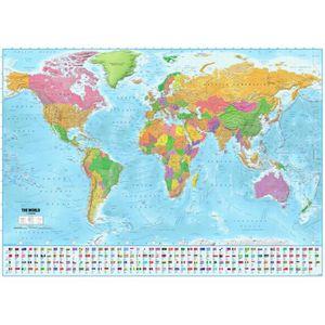 AFFICHE - POSTER Poster XXL Carte du monde avec drapeaux - 100 x 14