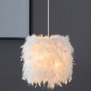 LUSTRE ET SUSPENSION Lustre Suspension E27 Lampe Suspendue en Plume Bla