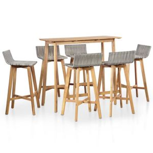 SALON DE JARDIN  mewmewcat Ensemble Table de Bar 6 chaises de Bar E