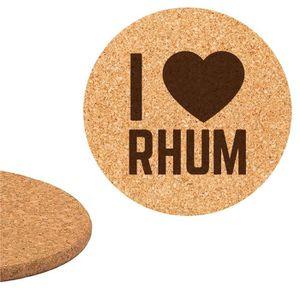 DESSOUS DE PLAT  Dessous de plat en liège 18cm gravé I love Rhum