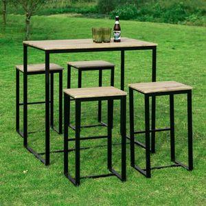 TABLE À MANGER COMPLÈTE SoBuy® OGT15-N Set de 1 Table + 4 Tabourets Ensemb
