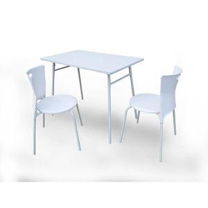CHAISE Ensemble Table + 2 chaises Supper Blanc