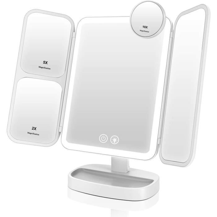 EASEHOLD Miroir Maquillage Lumineux LED Batterie Rechargeable TriPli Grossissement 2X 5X 10X 3 Lighting Effects 66 LED 2800[20472]