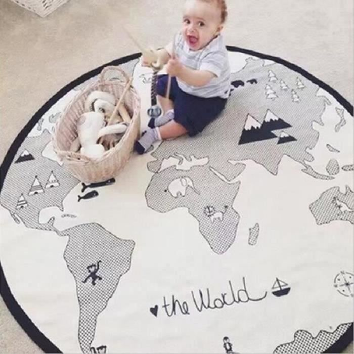 Tapis Éveil Tapis de Jeu Pour Bébé Tapis Rond en Coton Doux Carte du Monde Décoration de Salle 135cm