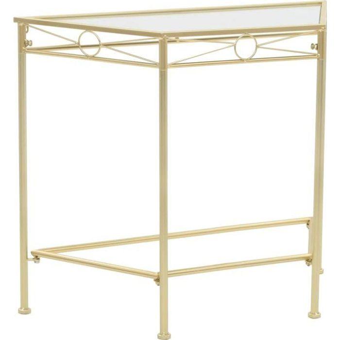 POUR& PRO- Console Table de Salon pour Entrée Table d Table d'appoint Style vintage Métal 87 x 34 x 73 cm Doré5745