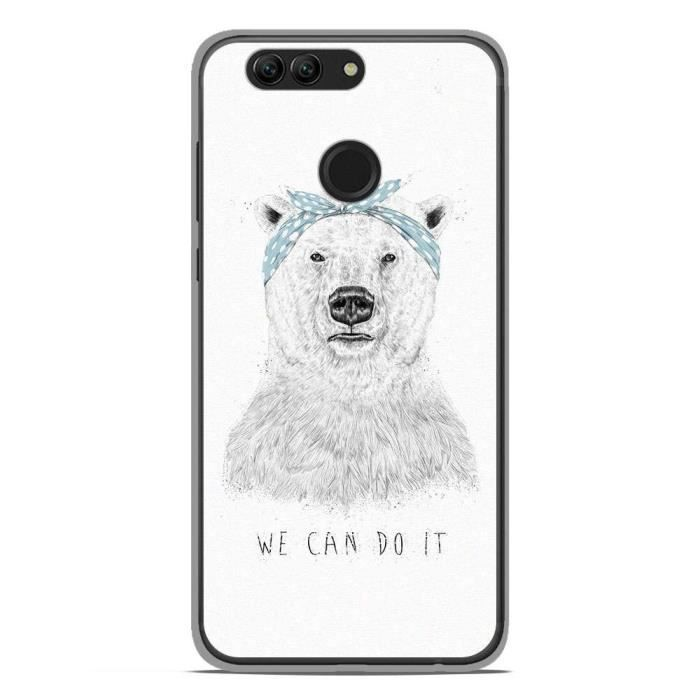 Coque pour smartphone compatible Huawei Nova 2 en silicone gel protection arrière- BS We can do it