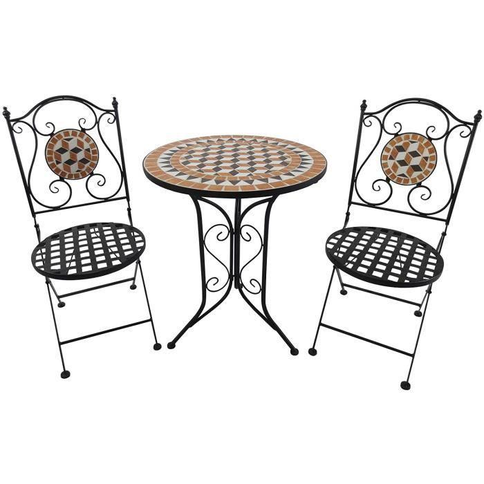 Outsunny Salon de Jardin 2 pers. 3 pièces Ensemble Bistro Style Fer forgé mosaïque 2 cha s + Table Ronde Pliables métal époxy an329