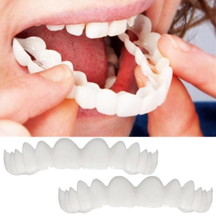 2 Pcs Instant Smile Confort Fit Flex Cosmétique Dents Denture Dents Top Cosmétique Placage Bo36322