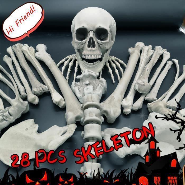 28pcs Halloween Squelette os Crâne Réaliste Blague Hanté Décoration Me47268