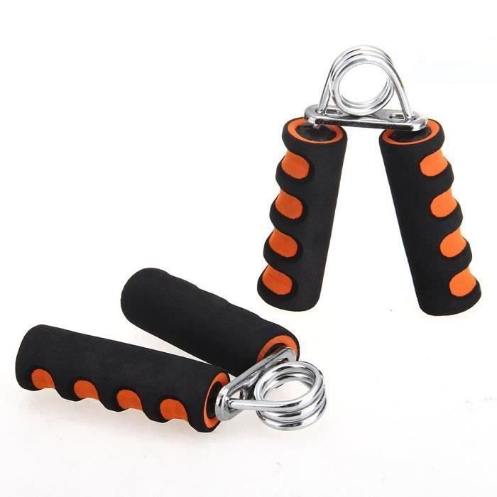 2x Pince Poignee Musculation Exercice Force Main Avant Bras Fitness 20LBS Orange A61417