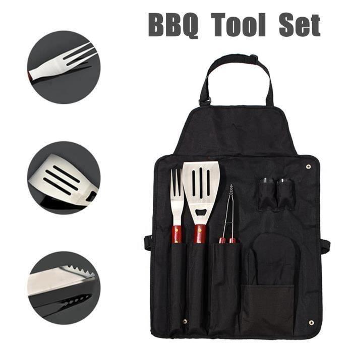 7 pcs Barbecue Outils Kit BBQ Ensemble Camping En Plein Air Griller Accessoires de Cuisine Tablier Pliable Sac De Rangement L42481