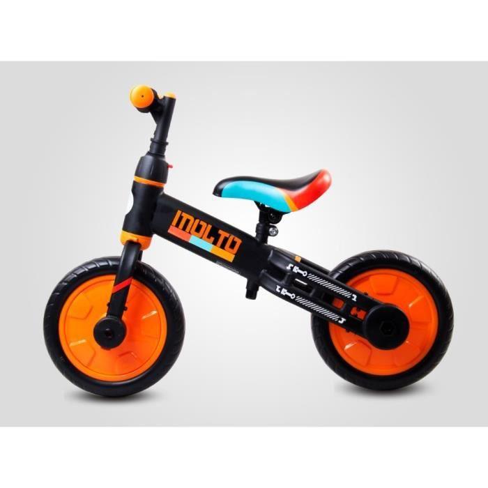 MOLTO - Draisienne 3en1 tricycle + vélo - Dès 3 ans jusqu'à 30 kg - Petites roues + pédales amovibles - Roues en mousse EVA -