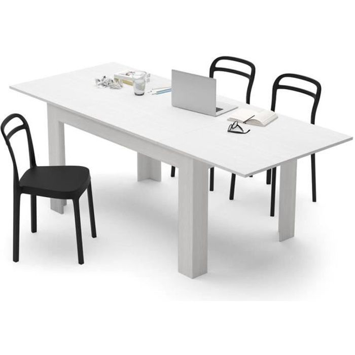 Mobili Fiver, Table extensible Cuisine, Easy, Frêne blanc, Mélaminé, Made in Italy