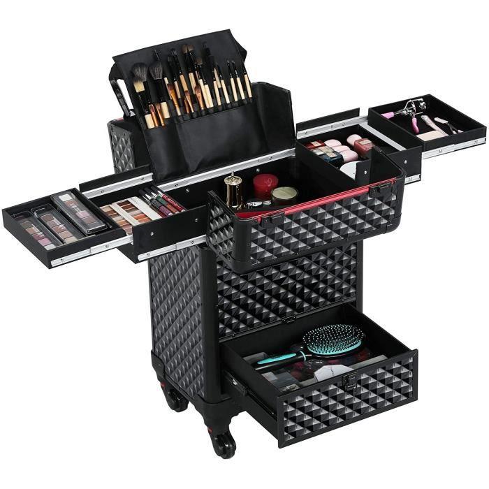 COFFRET DE MAQUILLAGE Yaheetech Valise Trolley pour Cosm&eacutetiques Noire Professionnelle Mallette de Maquillage Verrouilla470