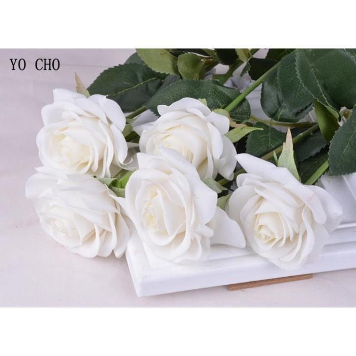 Décoration florale,Bouquet de roses et de pivoines artificielles en soie,Bouquet de roses et blanches,pour décorer une- Type white-B