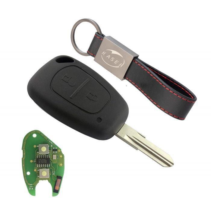 Clé Télécommande pour Renault avec Carte Électronique - 2 Boutons pour Megane 2 Scenic Clio Kangoo Dacia Duster (433Mhz PCF7 2191