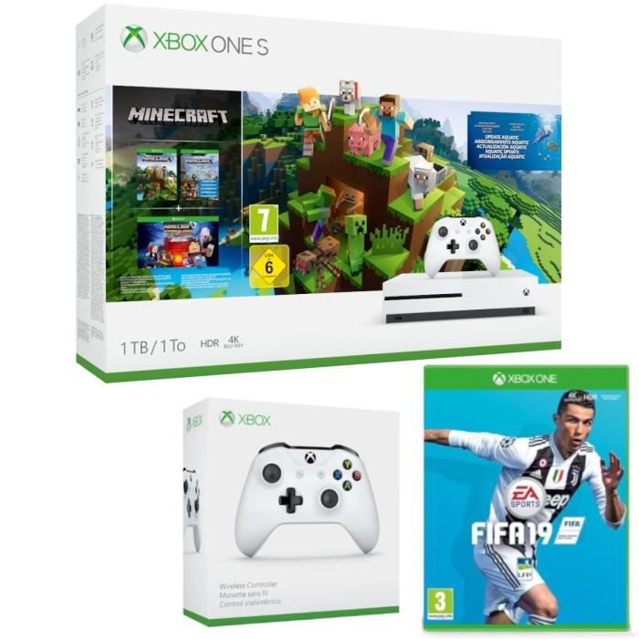 Xbox One S 1 To Minecraft + 2e manette + Fifa 19