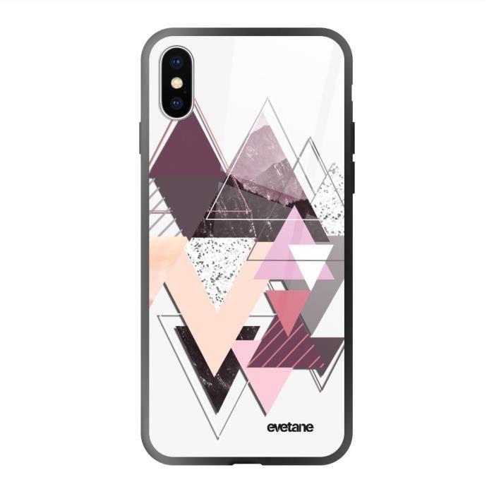 Coque en verre trempé iPhone Xs Max noir Triangles Design Ecriture Tendance et Design Evetane