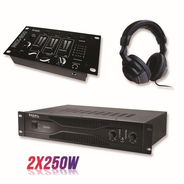 Pack sonorisation amplificateur 500W SA500 + Table de mixage 3 voies 5 entrées + Casque