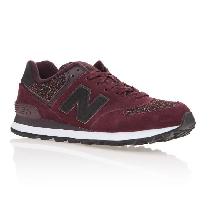 NEW BALANCE Baskets 574 Tweed - Femme - Rouge bordeaux