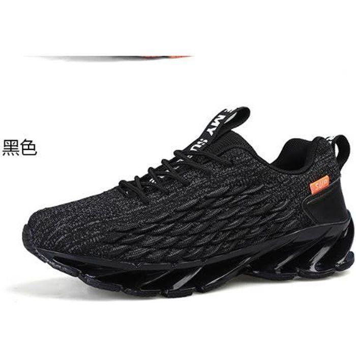 Chaussures de course pour hommes, baskets en maille respirante-noir