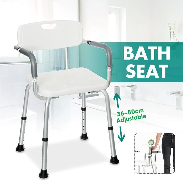 Tabouret de douche Fauteuil Siège salle de bain réglable 37-49CM hauteur Avec Dossier accoudoirs