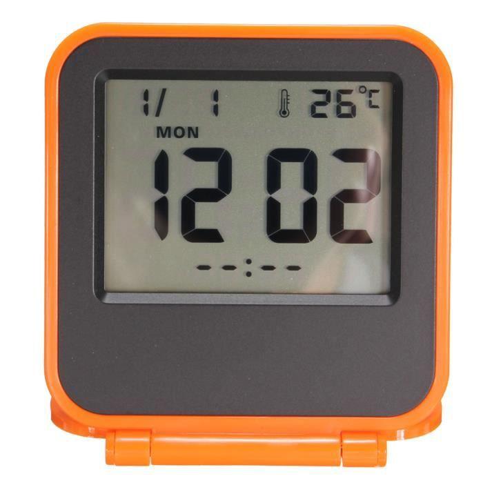 Pliable LCD Digital Voyage Alarme Horloge Réveil Snooze Calendrier Thermotètre  Dark Orange
