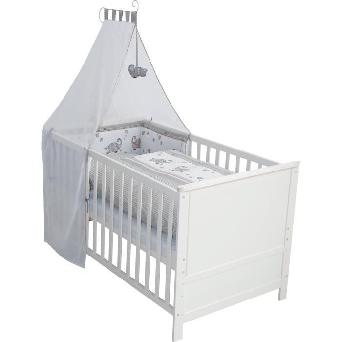 Lit bébé évolutif Jumbotwins en bois blanc réglable en hauteur + matelas et accessoires