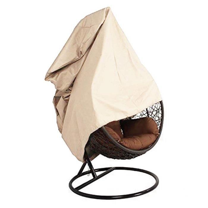 terrasse Housse de chaise à suspendre 420d Oxford Tissu imperméable véranda Patio Cocoon Oeuf Chaise meubles de jardin Hbeige_CD1007