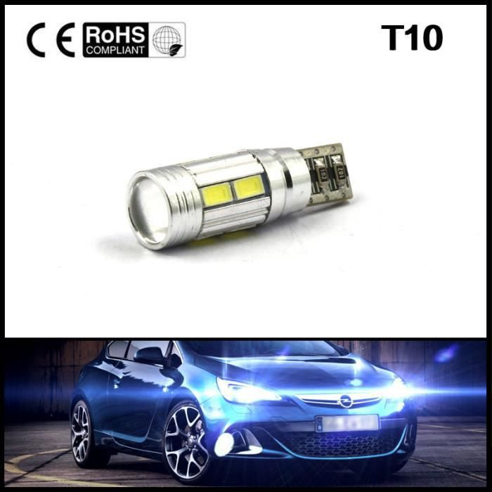 Vip2store® 2X T10 SMD 10 LED Ampoule Voiture Lampe BLANC